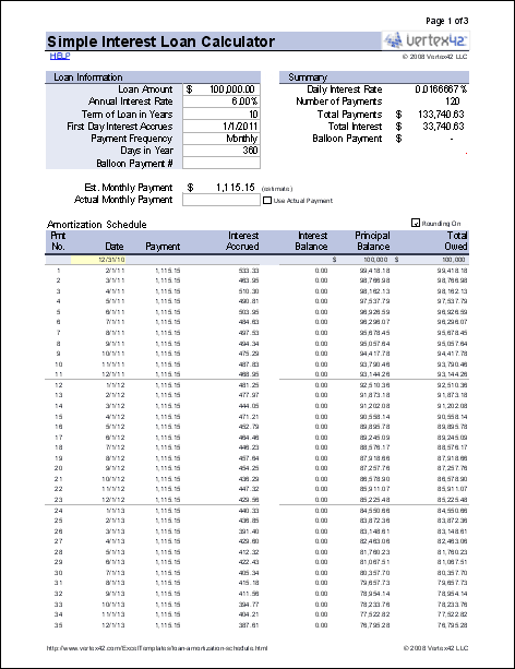 simple interest loan calculator with extra payments