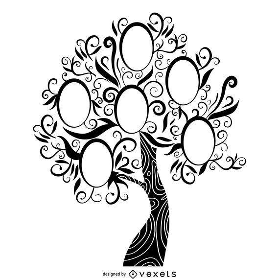 Black and white family tree - Vector download
