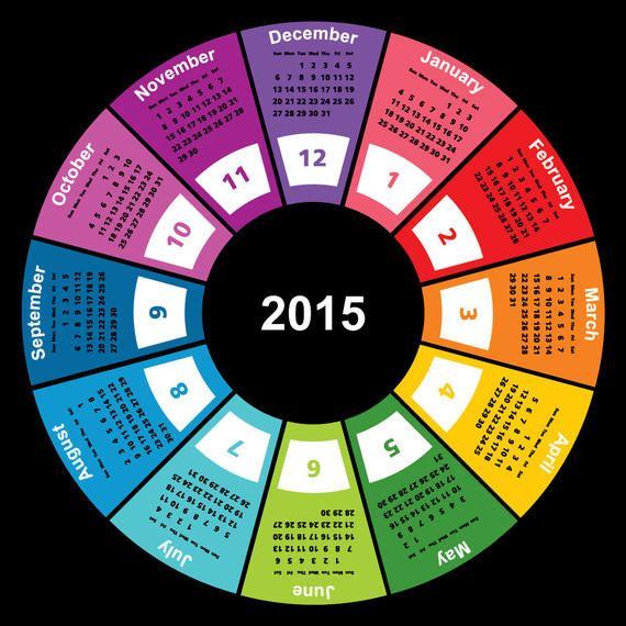 2015 Colorful Geometric Circular Calendar - Vector download - circular calendar