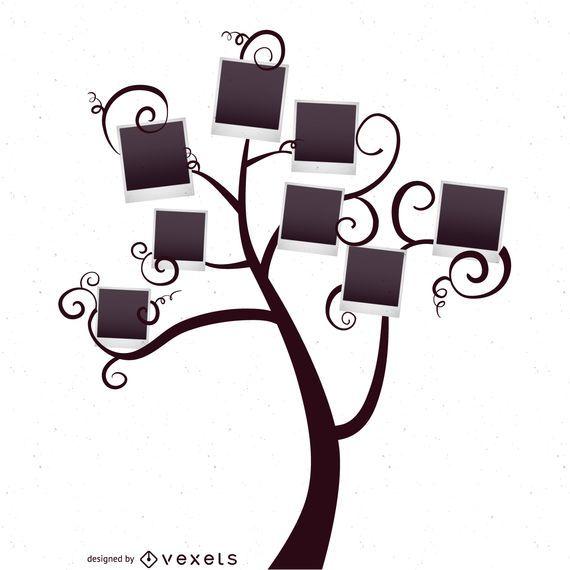 Árvore genealógica com modelo de polaroids - Baixar Vector