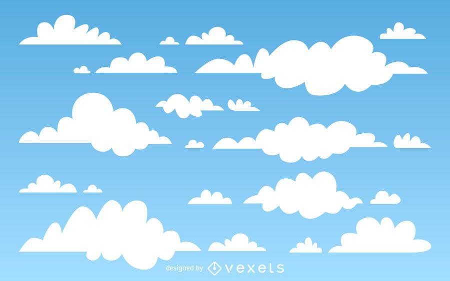 Ilustrado fondo de las nubes - Descargar vector - fondo nubes