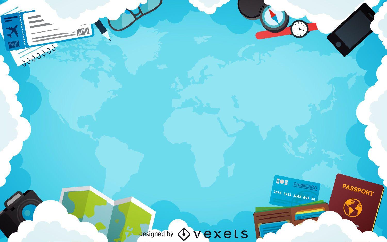 Flat Travel Plane Frame Background Vector Download