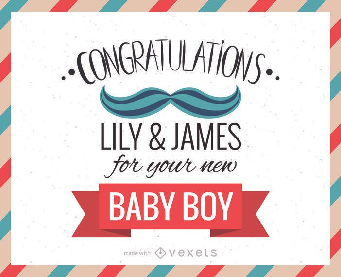 New baby congratulations greeting card maker - Editable design