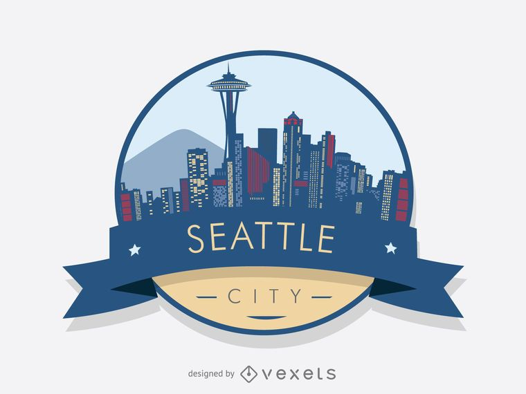 Seattle skyline badge design - Vector download