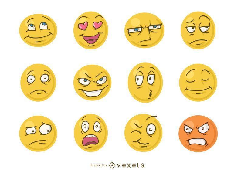 Funny cartoon faces emoji - Vector download