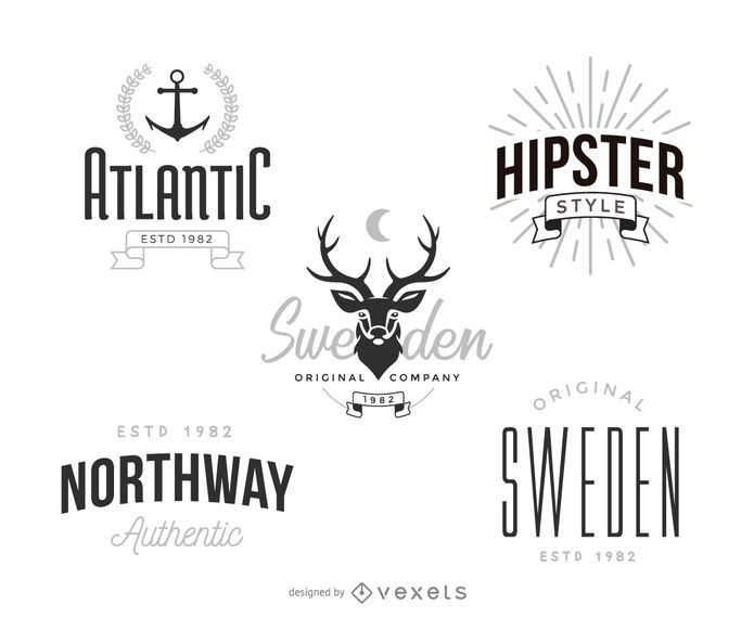 Hipster logo template set - Vector download - hipster logo template