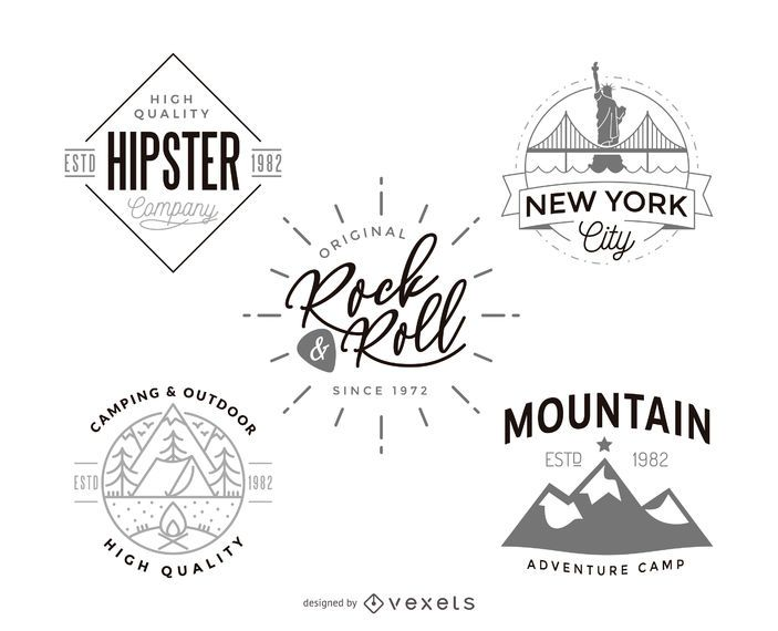 Hipster logo template design collection - Vector download