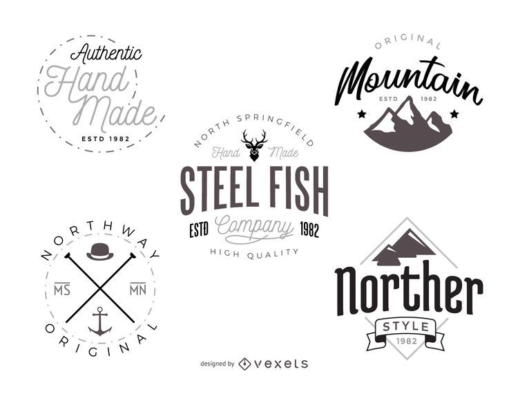 Hipster logo template pack - Vector download