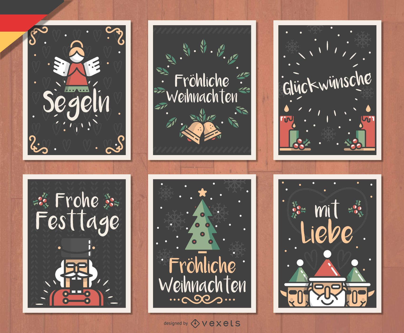 Design Weihnachten German Fr Hliche Weihnachten Christmas Card Set Vector Download