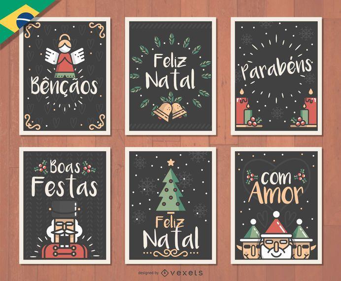 Conjunto de cartões de Natal Feliz Natal - Baixar Vector