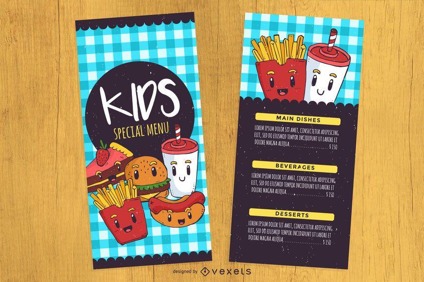 Kid\u0027s menu design template - Vector download