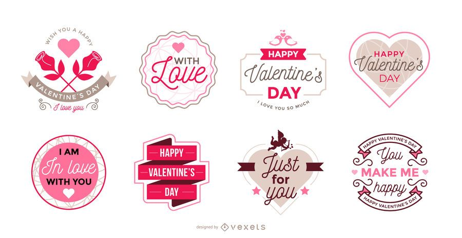 Collection of Valentine\u0027s Day labels - Vector download