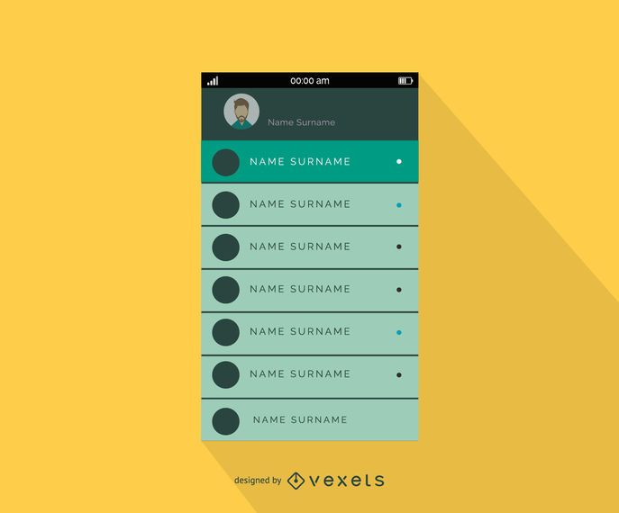 Mobile contacts list interface design template - Vector download