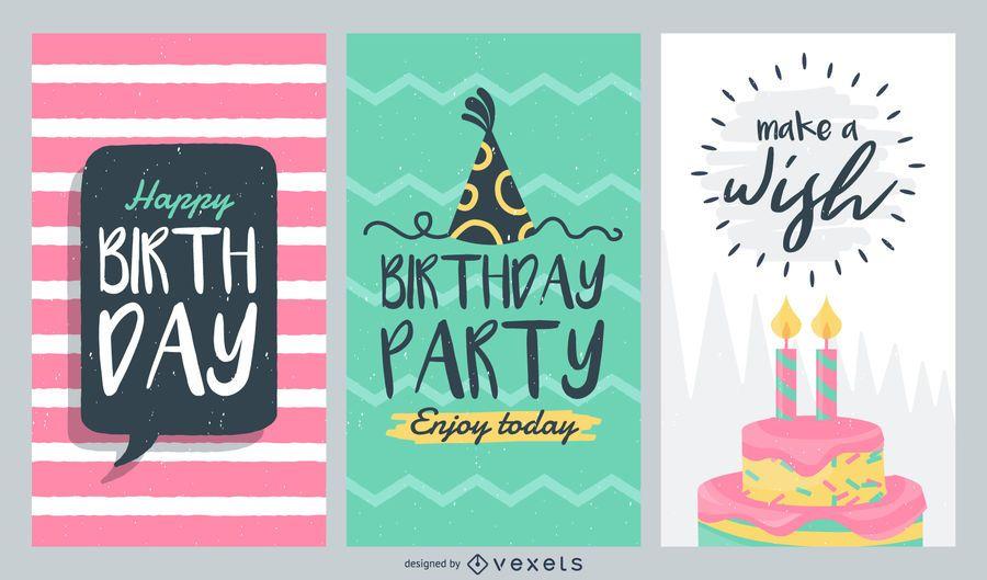 Conjunto de cartões de aniversário - Baixar Vector