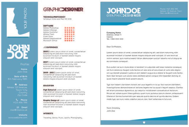 Creative 2 Page Resume Template - Vector download