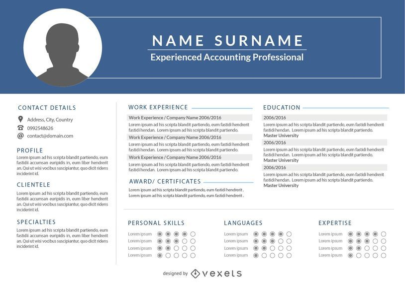 Classic 1 Page Resume Template - Vector download