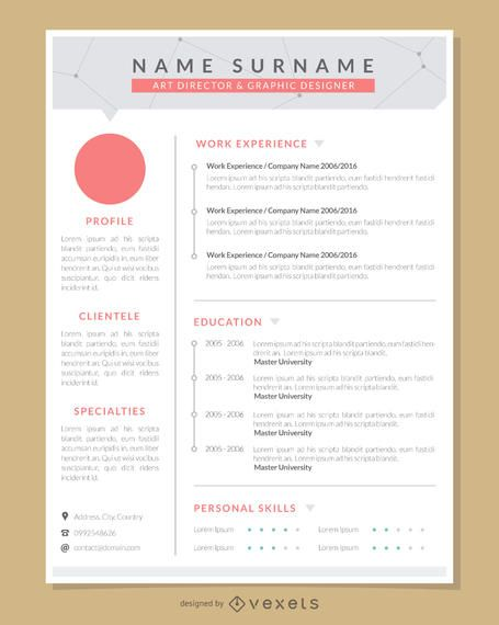 Graphic Artist Pro Resume Template - Vector download