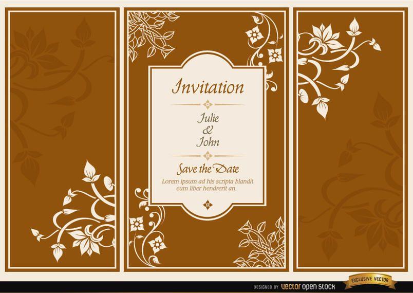 Floral triptych brochure wedding invitation - Vector download