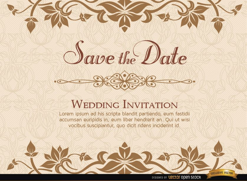 Golden Floral Wedding Invitation Template - Vector download - create invitation card free download