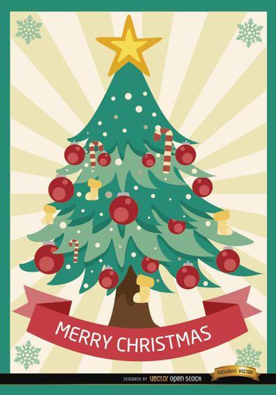 Listras radiais árvore do Feliz Natal - Baixar Vector