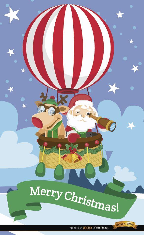 Santa e rena balão de ar quente - Baixar Vector