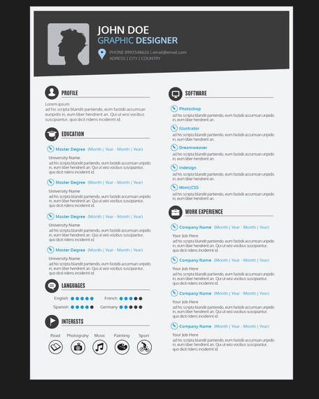 Graphic Designer Resume CV - Vector download