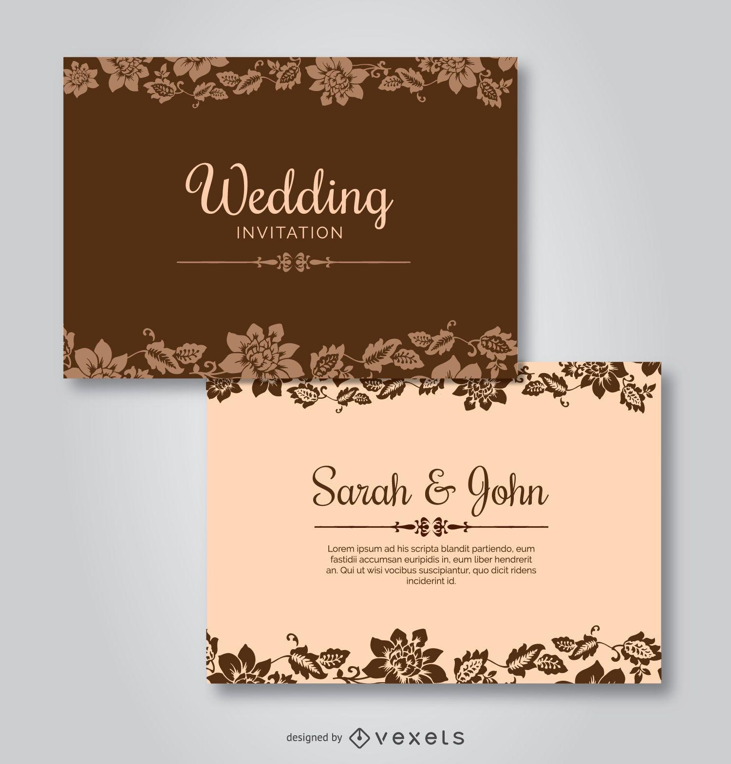 Invitaciones de boda floral Plantilla - Descargar vector - invitaciones de boda gratis