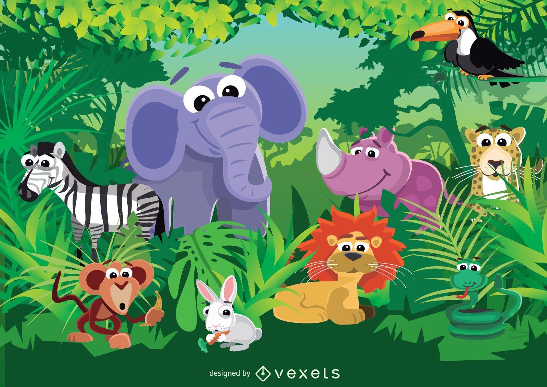 Cute Baby Pig Wallpaper Animales De La Selva Descargar Vector