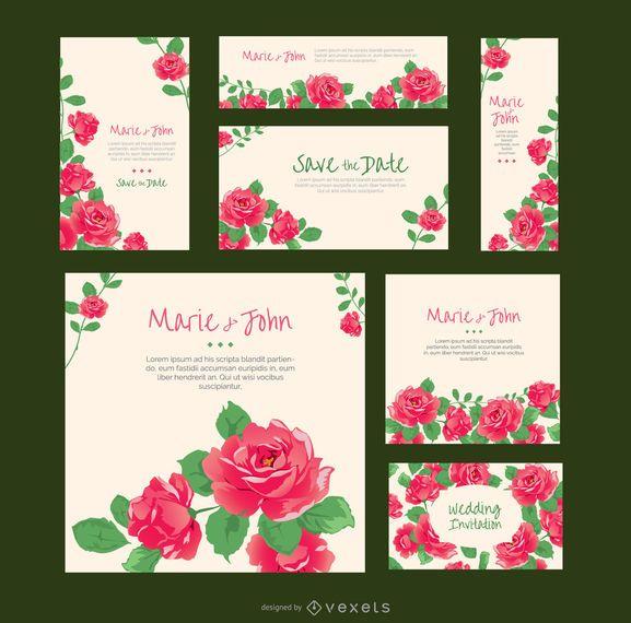 Rosas invitaciones de boda en varios formatos - Descargar vector