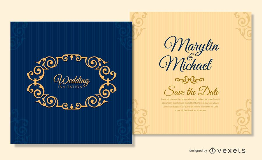 Navy blue wedding card template - Vector download - wedding template