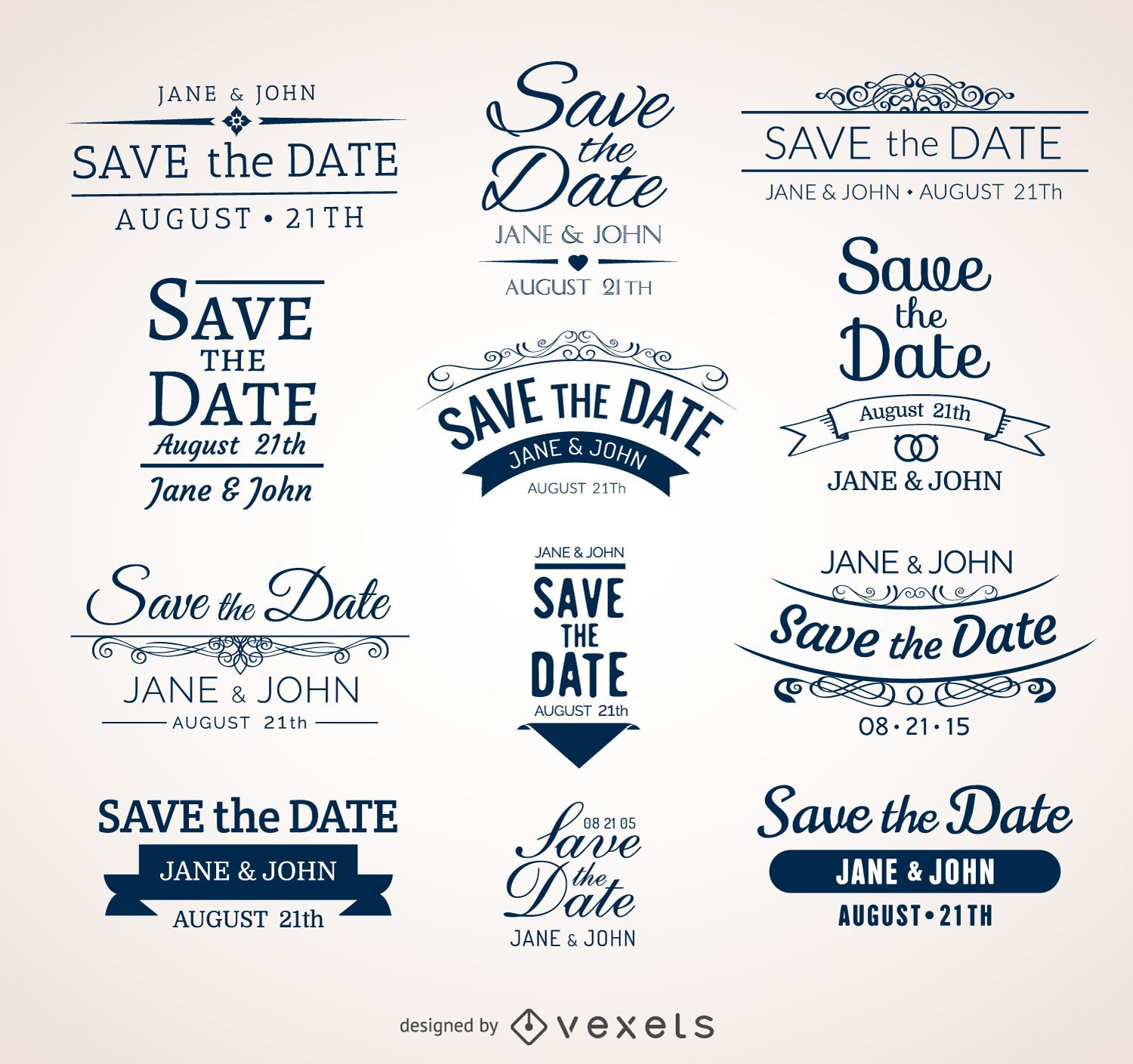 Wedding Save the date badges - Vector download