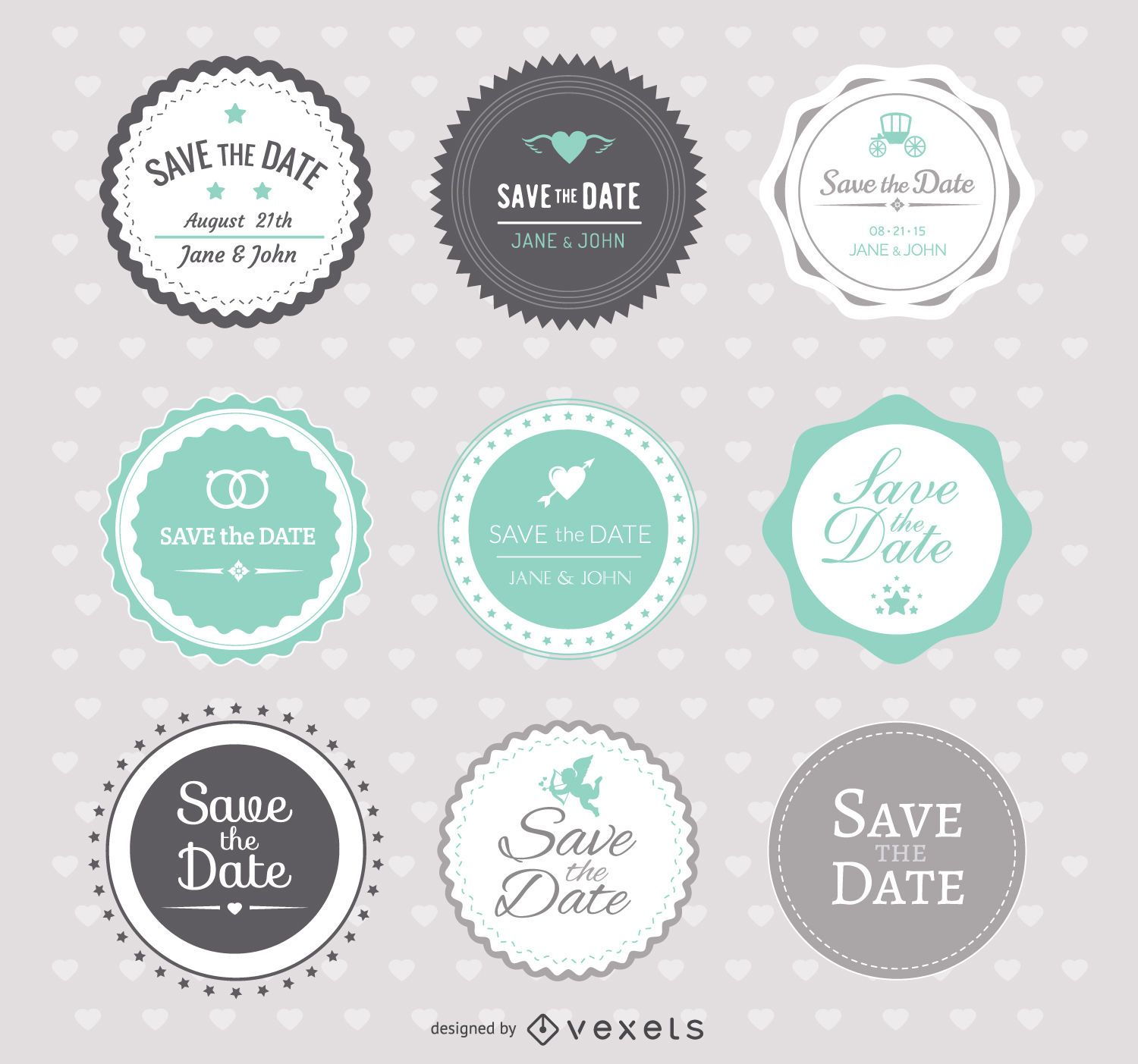 Save the date Wedding Badges - Vector download - free wedding save the dates