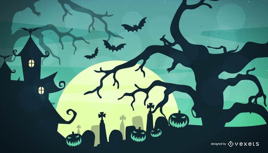 Spooky Halloween Night Background - Vector download