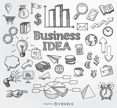 Business doodle hand drawn elements - Vector download