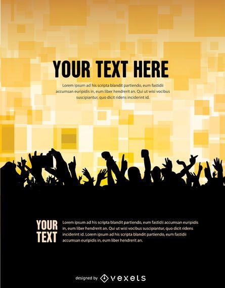 Concert Crowd poster template - Vector download