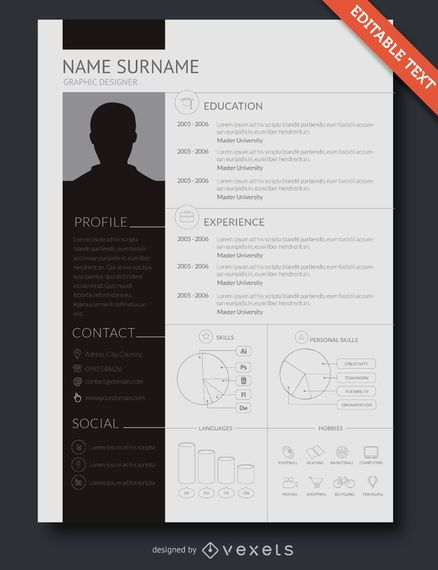 Flat design resume template - Vector download - graphic design resume template