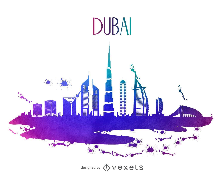 Skyline Car Wallpaper Hd Dubai Watercolor Skyline Silhouette Vector Download