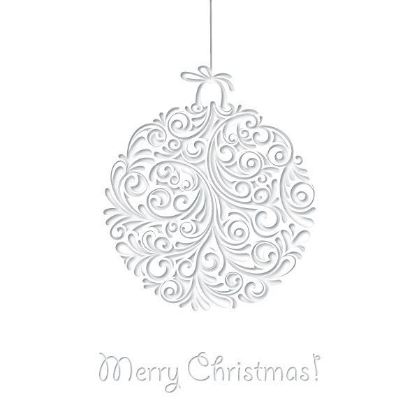 White Ornamented Christmas Card - Vector download - christmas cards black and white