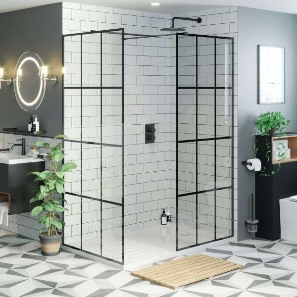 Victoria Plum Mode 8mm Black Framed Enclosure Pack With Walk In Shower