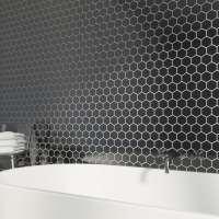 British Ceramic Tile Mosaic hex black gloss tile 300mm x ...