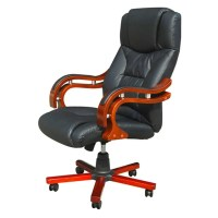 Black Real Leather Office Chair | vidaXL.com
