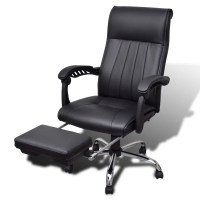 Black Artificial Leather Office Chair with Adjustable ...