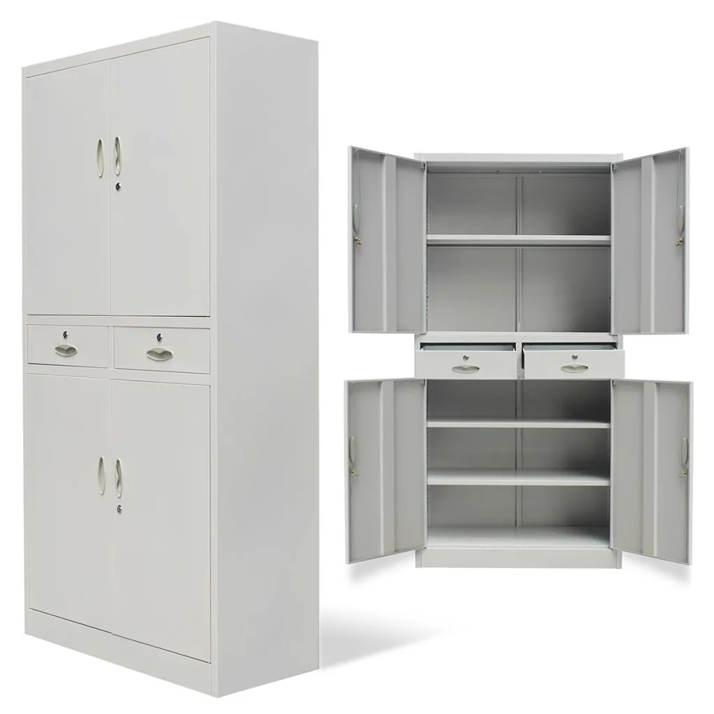 Office Cabinets Metal Office Cabinet 4 Doors 2 Drawers Gray Vidaxl