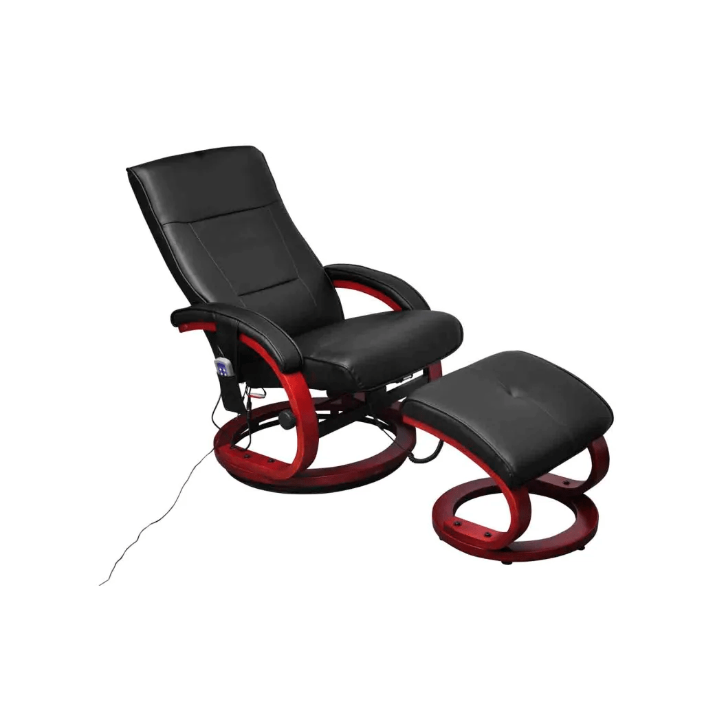 Electric tv recliner massage chair black with a footstool