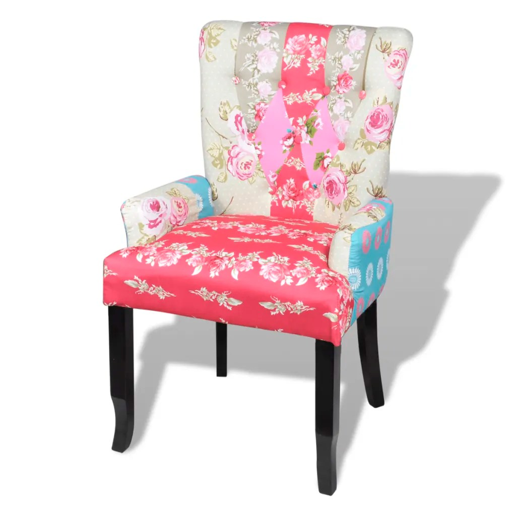 Patchwork Ohrensessel Mit Hocker Patchwork Chair Upholstered Armrest Relax Multi Coloured