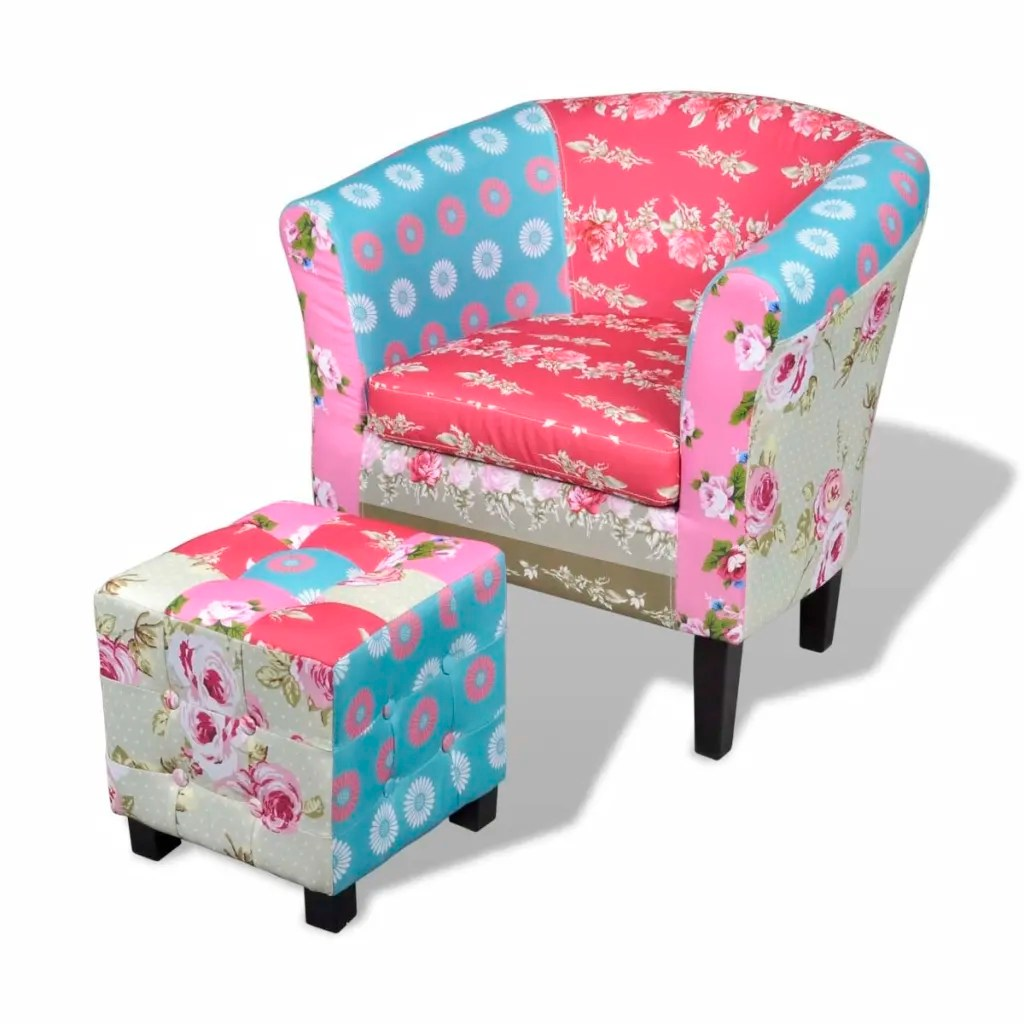 Patchwork Sessel Amazon Patchwork Chair Upholstered Armrest With Foot Stool Www