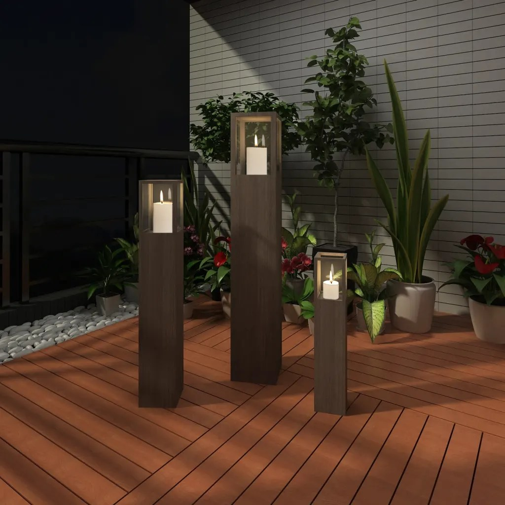 Photophore Exterieur Vidaxl Co Uk Garden Candle Stand Set 3 Pcs Outdoor