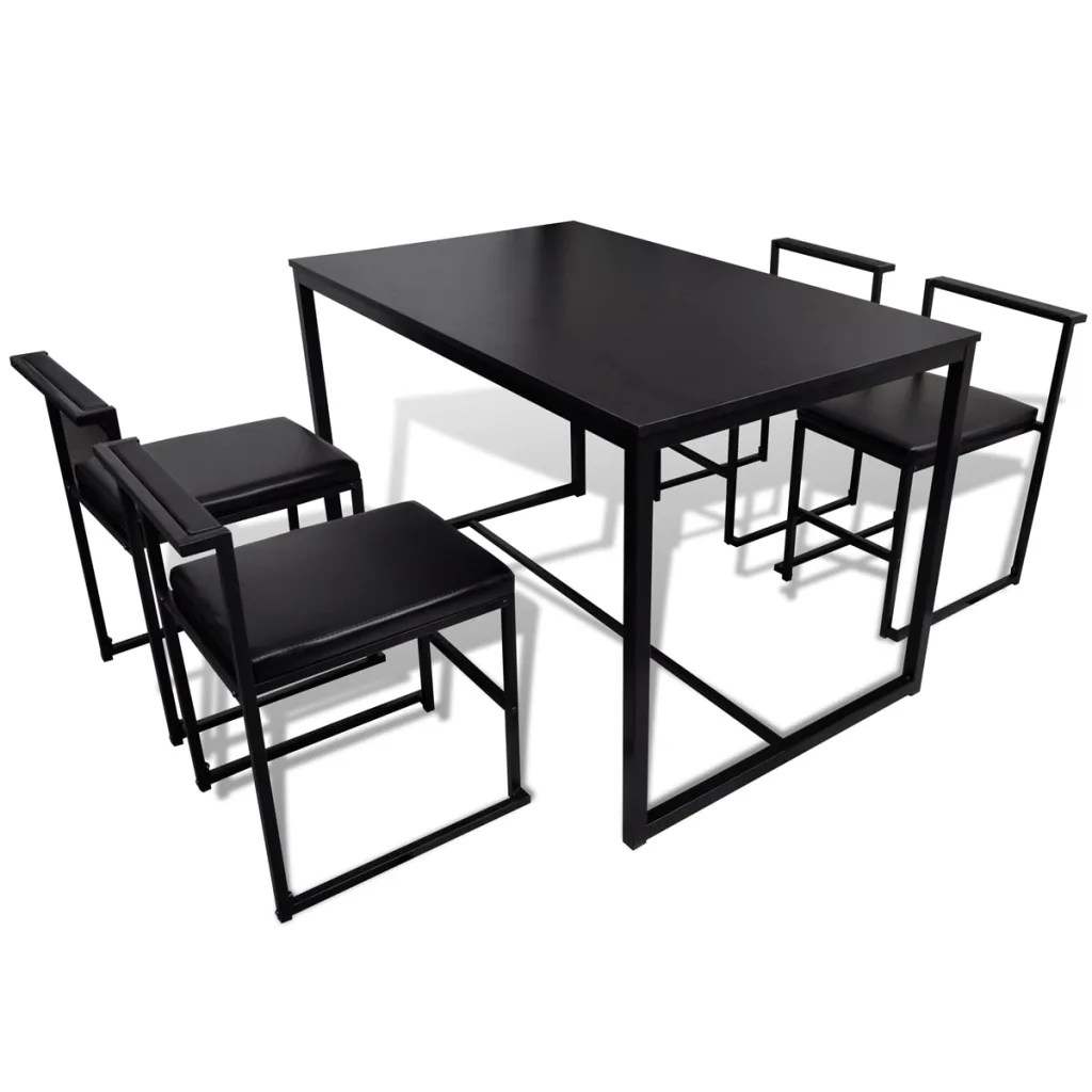 Table 2 Places Mesa Para Jantar Com 4 Cadeiras Preto Vidaxl Pt