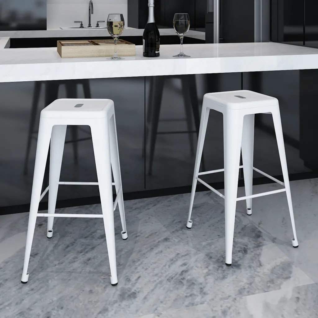 Charly Lot De 2 Tabourets De Bar Blancs La Boutique En Ligne Lot De 2 De Tabourets De Bar Hauts