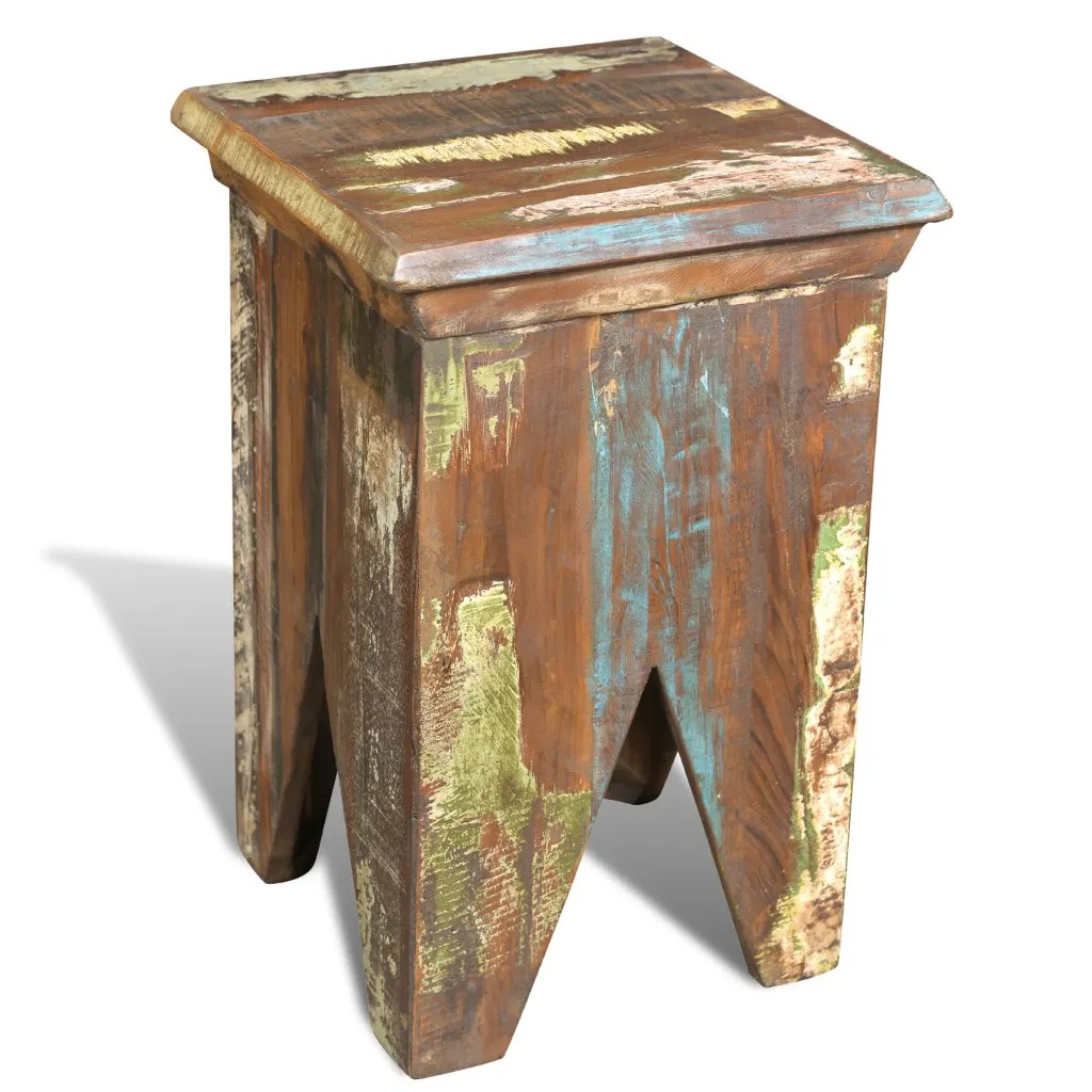 Hocker Vintage Vintage Reclaimed Solid Wood Stool Hocker Antique Chair Handmade